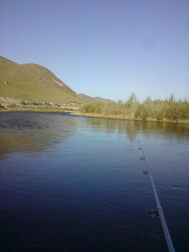 lenok fishing Tuul river Mongolia