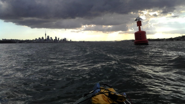 great view of Auckland City while kayak fishing