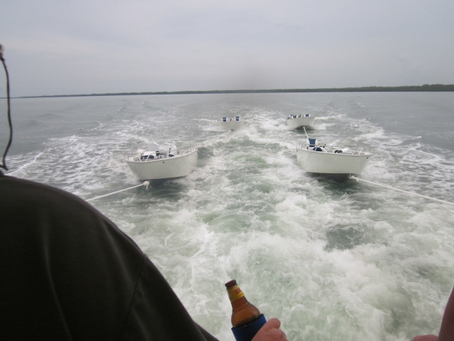 Towing the boats