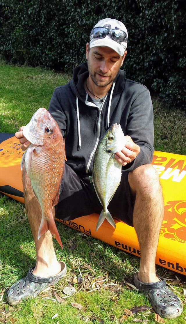 snapper and trevally caught from SUP