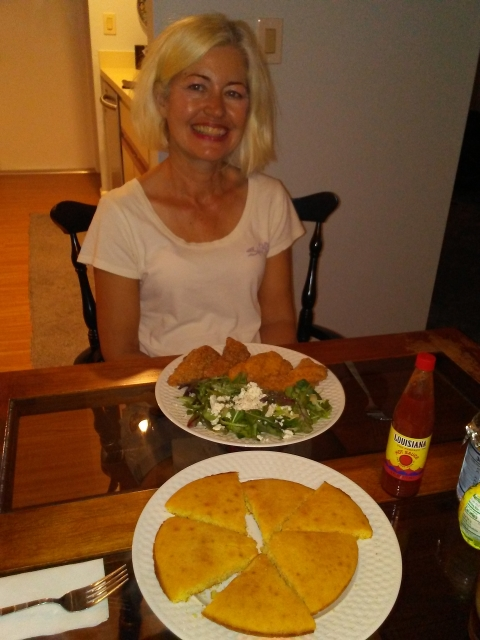 Wife with dinner