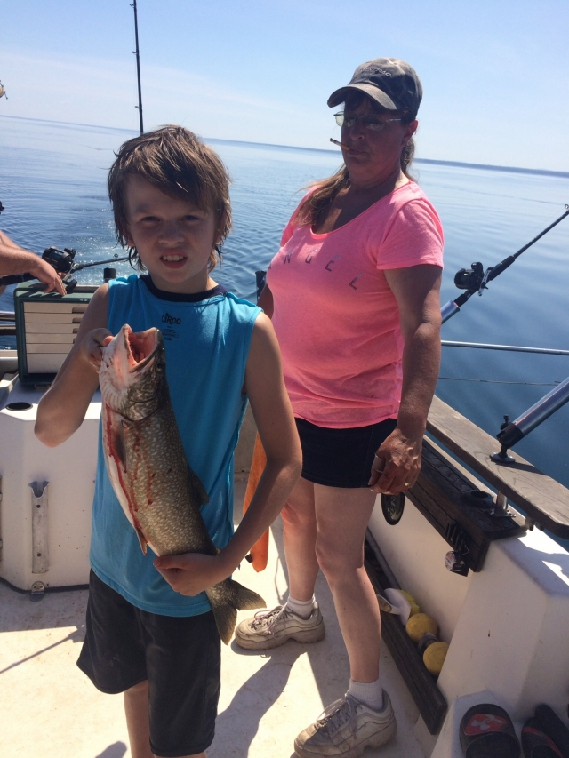 Lake trout! Ethan Crow grandsons first fish!