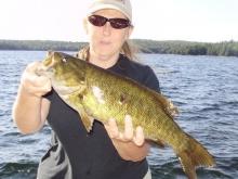 Bass off the dock