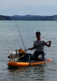 My dog loves paddle board fishing too