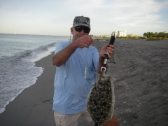 Beach fishing for flounder in Venice FL.