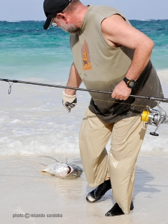 Jack with Daiwa carp rod, Cancun, Mexico