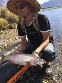 another nice rainbowtrout caught from my paddleboard