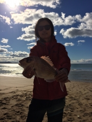 My wife's first snapper with drone fishing