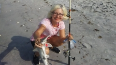 Wife with small bonnethead shark