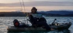 a nice Kingfish of my kayak in Golden Bay, NZ